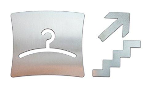 Großes massives Garderoben-Schild mit Pfeil- und Treppensymbol aus gebürstetem Edelstahl