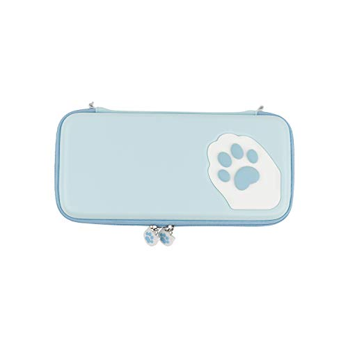 U Core Blue Cat Claw Carrying Case Compatible with Nintendo Switch - Portable Hardshell Slim Travel Carrying Case fit Switch & Game Accessories - With 10 Game Card Slots and a Removable Wrist Strap