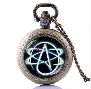 Collar y colgante de bronce con símbolo de ateo, de bolsillo, sin religión, para hombres y mujeres