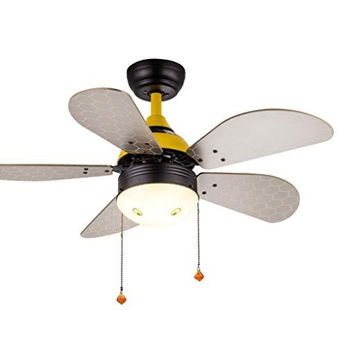 Plafondventilator met laag profiel, met ledlicht en trek de comic-ketting van de plafondventilator voor slaapkamer, woonkamer of plafondventilator met lamp