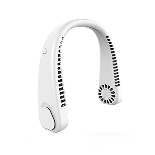 Ventilador de Cuello, Portátil Personal, USB RecargableMano Libre 3 velocidades Doble Cabeza Oficina/Viajes/Camping (White)