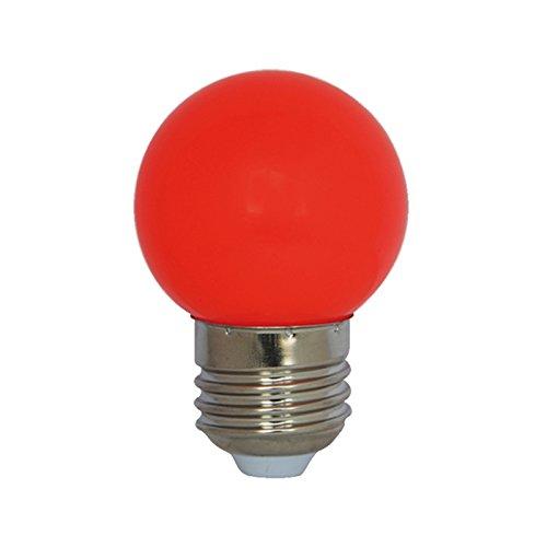 Laes 986051 Bombilla Esférica LED E27, 0.9 W, Rojo, 45 x 72 mm
