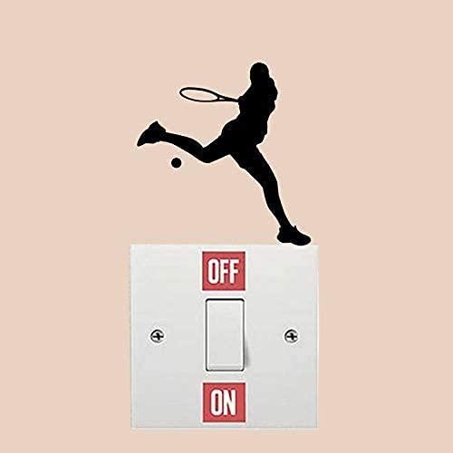 Etiqueta Engomada Del Interruptor, Deporte De La Moda Del Funcionamiento Del Tenis, Etiquetas Engomadas De La Pared Del Vinilo Para El Interruptor De Luz Casero