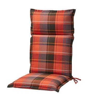 elGiga High-Backed Chair Cushion Set of 4 Club Red 120 x 50 x 9 cm for Garden Chair, High Quality, Washable and Easy to Clean
