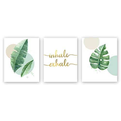 Sanrx Watercolor Green Leaf Print