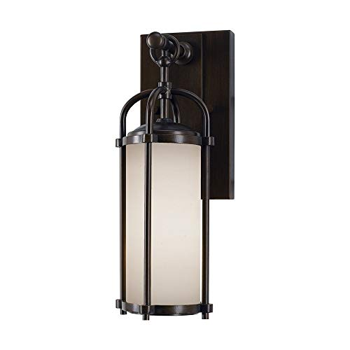 "Feiss OL7600ES Dakota Outdoor Patio Lighting Wall Lantern, Bronze, 1-Light (5""W x 13""H) 100watts"
