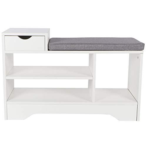 Ausla Banco zapatero con 4 estantes, 30 x 80 x 52 cm, color blanco