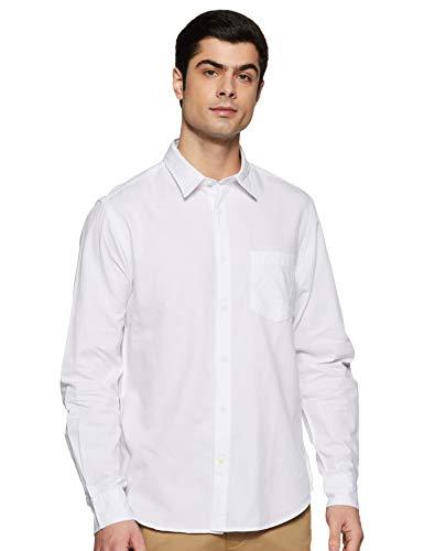 Indian Terrain Men's Solid Slim fit Casual Shirt (ITMSH01254_White Medium)