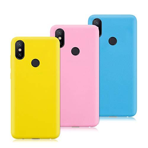 3X Funda Xiaomi Mi Mix 2S, Trasero Color Sólido Cáscara Flexible Goma Suave Delgado Gel TPU Silicona Protección Case Mate Antigolpes Anti-rasguño Caso - Amarillo, Rosa Oscuro, Azul