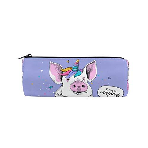 JNlover - Estuche de lápices con forma de cerdo de animales y unicornio para lápices, redondo, para escritorio, para adolescentes, niños, oficina