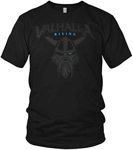 North - Valhalla Rising Wikinger Odin Krieger mit Helm Walhalla Vikings Nordmann - Herren T-Shirt und Männer Tshirt, Größe:XL, Farbe:Schwarz/Blau