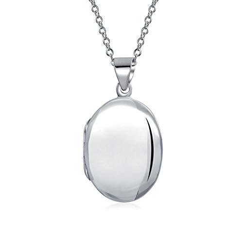 Medallón de fotos ovalado simple simple simple para mujeres adolescentes fotos de plata 925 pulida collar colgante pequeño mediano grande