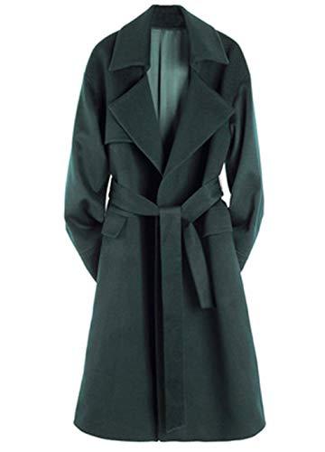 Langer Trenchcoat der neuen Frauen für Herbst und Winter, dunkelgrüner Winter-Wollmantel, beiläufige Outwear,XL