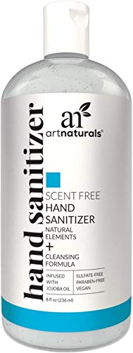 Artnaturals Hand Sanitizer Gel Alcohol Based (4 Pack x 8 Fl Oz / 220ml) Infused with Alovera Gel, Jojoba Oil & Vitamin E - Unscented Fragrance Free Sanitize