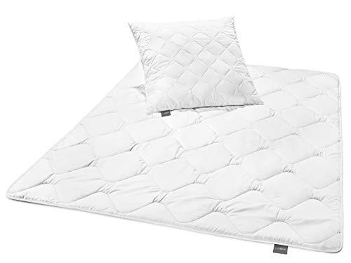 Traumnacht 3-Star Bettenset Leicht Sommerdecke, 1 x Bettdecke 135 x 200 cm und 1 x Kopfkissen 80 x 80 cm, weiß