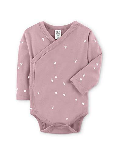 Colored Organics Baby Organic Cotton Kimono Bodysuit - Long Sleeve Infant Side Snap Onesie - 12-18 Months - Mauve Hearts