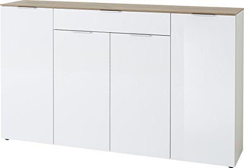 Germania Sideboard 3822-513 GW-Cetano in Weiß/Navarra-Eiche-Nb., Fronten in Hochglanz, 179 x 106 x 40 cm (B/H/T)