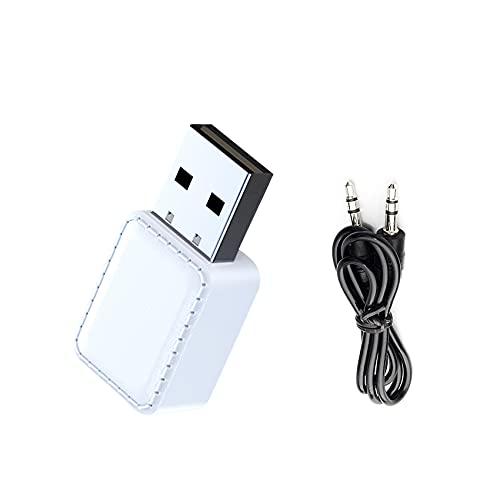JeoPoom Adaptador Bluetooth 5.0 USB, 2 En 1 Receptor Bluetooth Y Transmisor Bluetooth, con 3,5 mm De Audio para Auriculares, para PC/TV/Auriculares/Altavoces/Radio(Blanco)