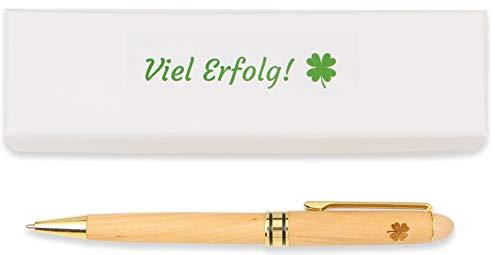 Riedler Viel Erfolg Kugelschreiber mit Kleeblatt Gravur, Stift aus Holz in weißer Geschenkverpackung (1 Stück)
