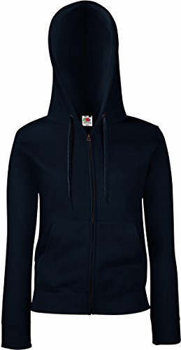 Fruit Of The Loom Lady-Fit Damen Kapuzenjacke / Sweatshirt-Jacke mit Kapuze L,Blau - Deep Navy