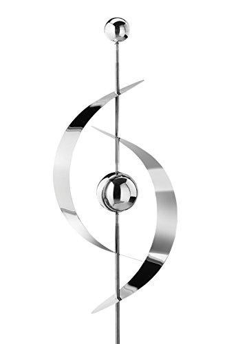 Kobolo Gartenstecker Dekostecker Saturn aus Edelstahl Silber 130 cm