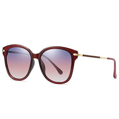 Hancoc Caja De Europa Y América Gafas De Sol Polarizadas for Mujer Tendencia De Moda Gafas UV400 con Incrustaciones De Plástico Degradado De Diamantes Marco De Lente (Color : Red)