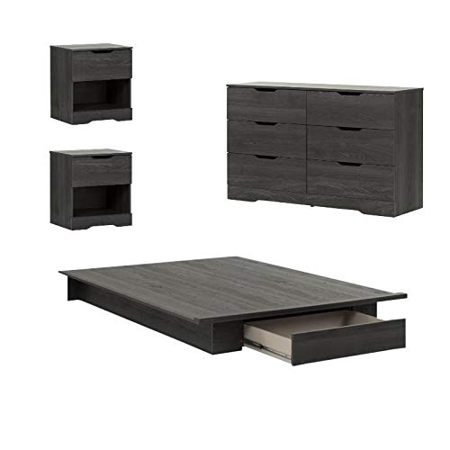 Home Square 4 PC Queen Platform Bedroom Set with Dresser and 2 Nightstands in Gray Oak