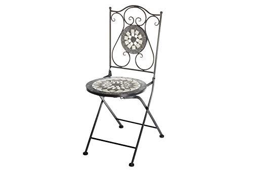Kobolo Gartenstuhl Klappstuhl Mosaikstuhl Metallstuhl - Höhe 88 cm - grau