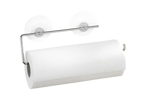WENKO Static-Loc® Küchenrollenhalter Chrom, verchromtes Metall, 30 x 8.5 cm, Silber glänzend