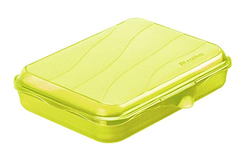 Rotho Fun Vesperdose 0,75l mit Klickverschluss, Kunststoff (PP) BPA-frei, grün, 0,75l (19,5 x 14,5 x 4,0 cm)