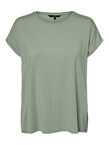 VERO MODA Damen VMAVA Plain SS TOP GA NOOS T-Shirt, Desert Sage, M