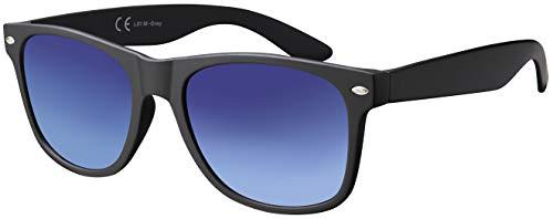 Sonnenbrille Herren Damen La Optica UV 400 CAT 3 CE Retro - Einzelpack Matt Schwarz (Gläser: Blau Verlauf)