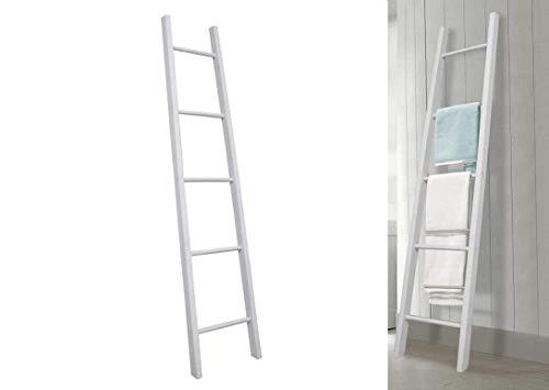 Escalera toallero baño de madera 5 estantes color blanco shabby chic 35...