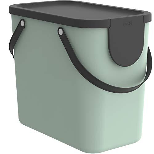 Rotho Albula Aufbewahrungsbox Deckel, Kunststoff (PP recycelt), türkis/anthrazit, 25l, (40 x 23,5 x 34 cm)