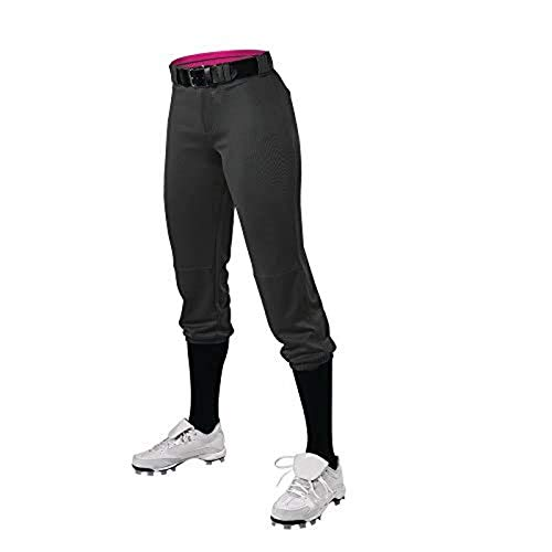 Alleson Athletic Girls Belted Speed Premium Fastpitch Pant, Black, Large