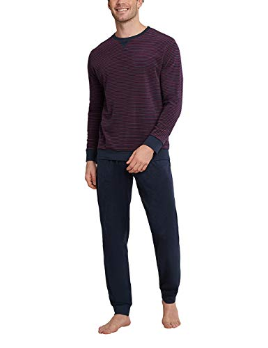 Schiesser Herren Schlafanzug lang Pyjamaset, dunkelblau, 50