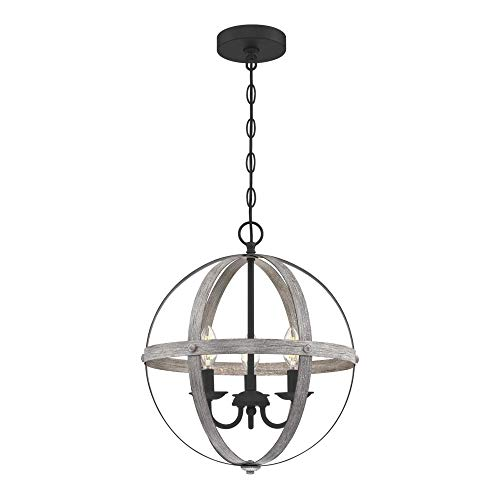 Westinghouse Lighting 6110400 Stella Mira Vintage Three-Light Indoor Chandelier Antique Ash Finish with Matte Black…