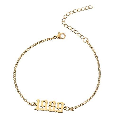 PJRYC Acciaio Inossidabile 1985-2020 Anno di Nascita Choker Data Numero Ciondolo Collana Gioielli Regalo commemorat (Main Stone Color : 2016, Metal Color : Bracelet)