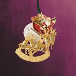 Ornamento de la Navidad Papá Noel con trineo