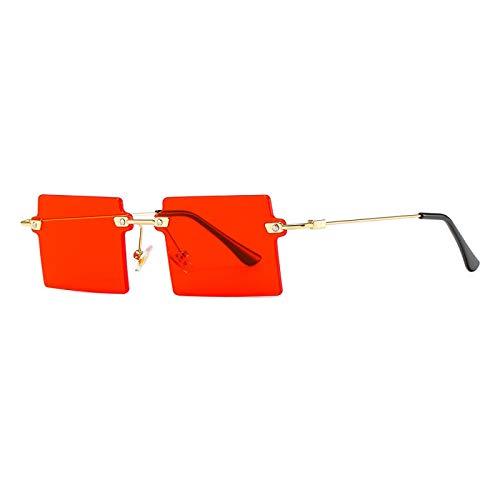 Gafas De Sol Nuevas Gafas De Sol Rectangulares Pequeñas para Mujer, Gafas De Sol Cuadradas Sin Montura para Mujer, Estilo Veraniego, Uv400, Verde, Marrón, C3Red