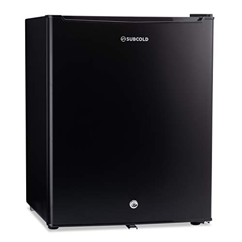 Subcold Eco75 Mini Fridge Black | Table-Top Model | Counter-Top Fridge | Solid Door with Ice-Box | Lock & Key | Low Energy A+ (75L, Black)