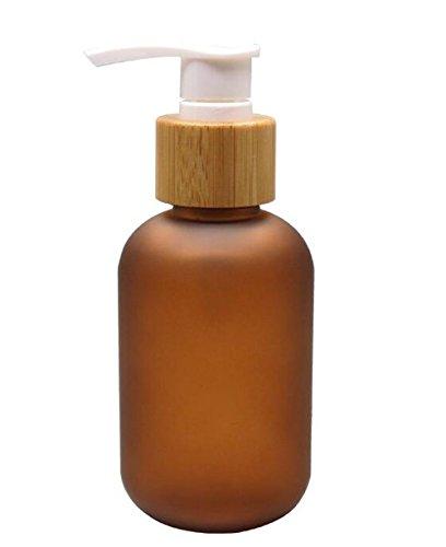 Upstore - Botella de plástico antigoteo con Bomba de bambú, dispensador de Jabón Líquido para inodoros, cosméticos, lociones, contenedores de Almacenamiento, plástico, Marrón, 120ml/4oz
