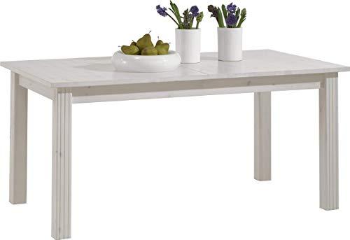 Steens Group 3174010013001F Monaco Table de Salle à Manger avec Rallonge Pin Massif Lasuré Blanc 204 x 90 x 74,5 cm