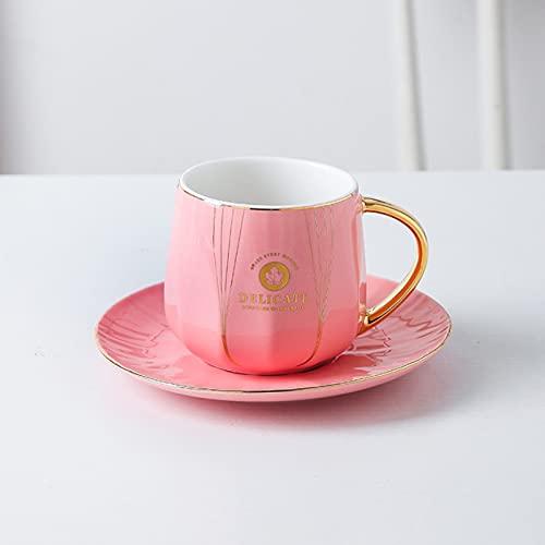 Estilo europeo oro pintado taza de cerámica con tapa y cuchara simple casero casual taza de café sin marco de hierro A