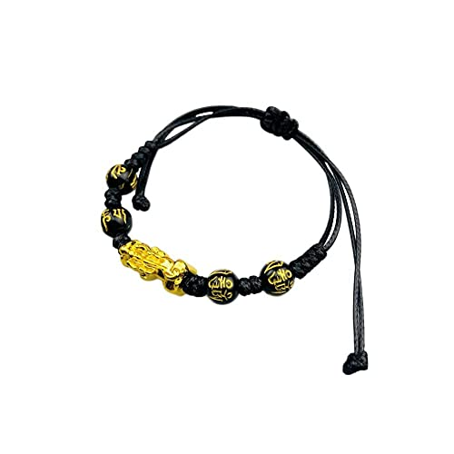 CLEARNICE Pulsera de obsidiana Negra Feng Shui, Pulsera Trenzada de Pixiu, Amuleto de Riqueza Hecho a Mano de la Suerte, decoración de Regalo Trenzada Unisex