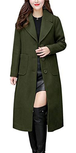 chouyatou Women's Big Notch Lapel Single Breasted Mid-Long Wool Blend Coat (Medium, Army Green)