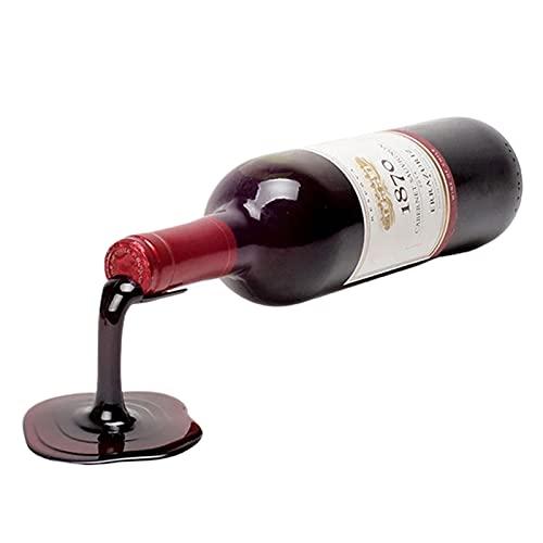 QKFON Home Wine Rack Set Decoración Display Decoración Display Gabinete Vino Bandeja Colgante Rojo y Oro