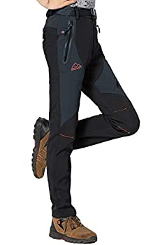Rdruko Women s Waterproof Windproof Fleece Lined Warm Hiking Ski Snow Insulated Pants Black US M