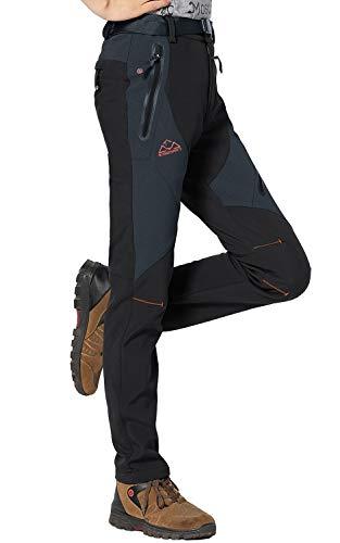 Rdruko Women's Waterproof Windproof Fleece Lined Warm Hiking Ski Snow Insulated Pants(Black, US M)