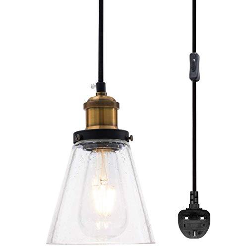 CattleBie Mini luz Pendiente Moderna, persiana Claro sembrada de Vidrio con 16.4 pies Enchufe el Cable y el Interruptor de Encendido/Apagado, Ajustable Granja de la Vendimia Lámpara Colgante de Isla